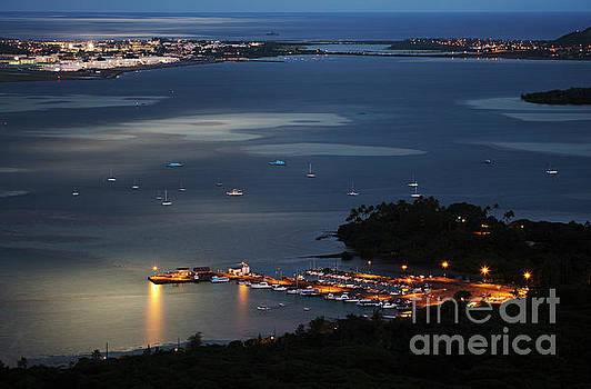 Night at Kaneohe Bay and Heeia Pier by Charmian Vistaunet