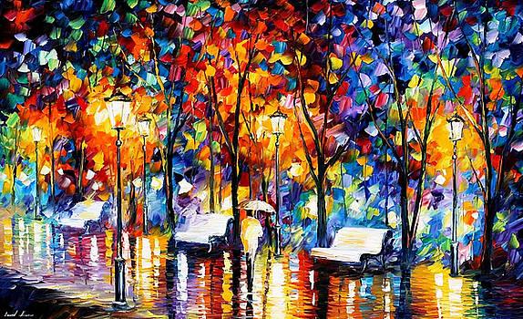Night Copenhagen 2 - PALETTE KNIFE Oil Painting On Canvas By Leonid Afremov by Leonid Afremov