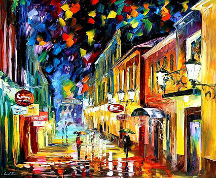 Night Etude - PALETTE KNIFE Oil Painting On Canvas By Leonid Afremov by Leonid Afremov
