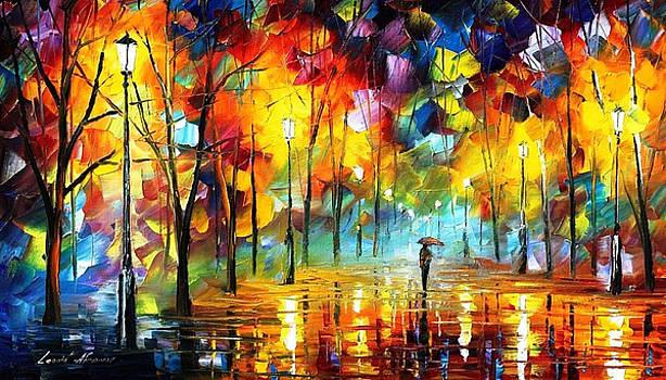 Night Feeling - PALETTE KNIFE Oil Painting On Canvas By Leonid Afremov by Leonid Afremov