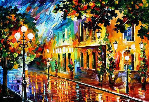 Night Flowers - PALETTE KNIFE Oil Painting On Canvas By Leonid Afremov by Leonid Afremov