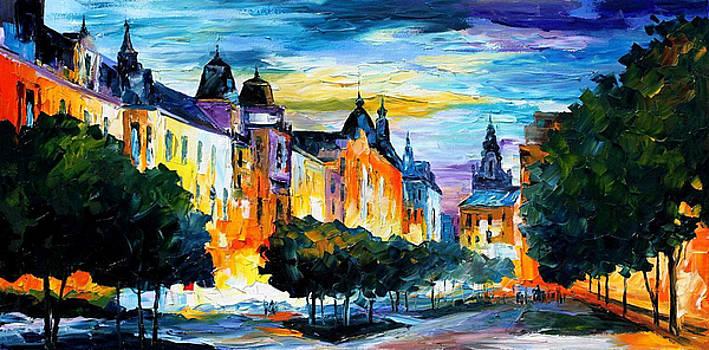 Night In Hamburg - PALETTE KNIFE Oil Painting On Canvas By Leonid Afremov by Leonid Afremov