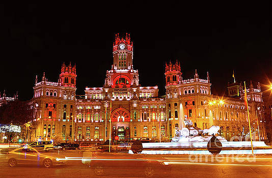 James Brunker - Night Traffic in Plaza de Cibeles Madrid Spain