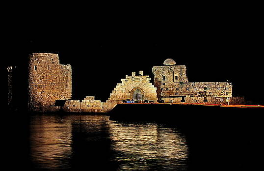 Night view of Sidon Sea Castle by Ahmad Zaatari