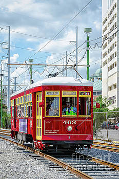 Nola Red Streetcar Riverfront 2 by Kathleen K Parker