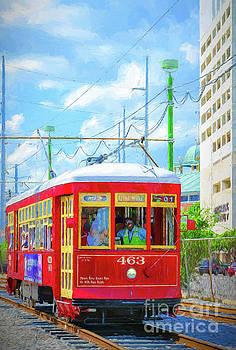 NOLA Red Streetcar Riverfront - Art by Kathleen K Parker