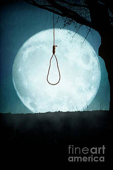 Noose Hanging From A Tree Silhouetted By Full Moon by Lee Avison