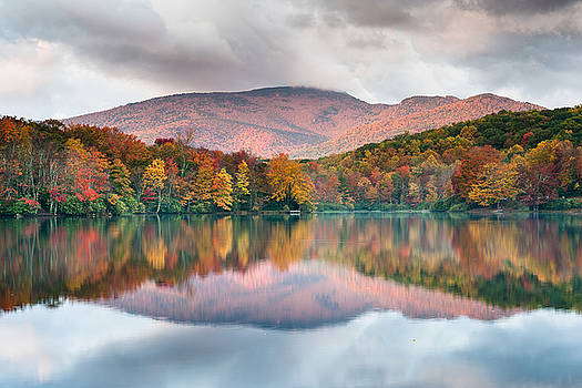 North Carolina Grandfather Mountain Price Lake Autumn Reflection by Mark VanDyke