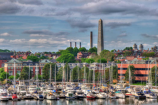 North End Waterfront Marina and Bunker Hill Monument - Boston by Joann Vitali