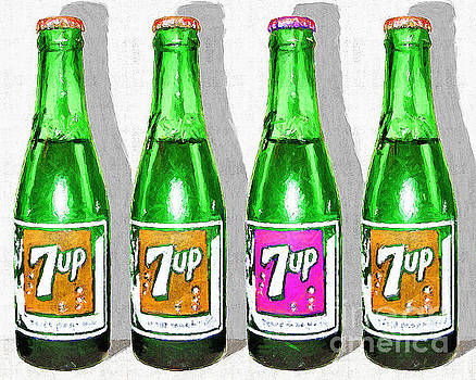 Wingsdomain Art and Photography - Nostalgic Vintage Pop Art 7up Four Bottles 20160220