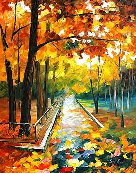 November Park 2 - PALETTE KNIFE Oil Painting On Canvas By Leonid Afremov by Leonid Afremov