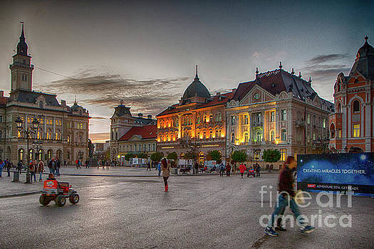 Novi Sad Liberty Square at twilight by Jivko Nakev