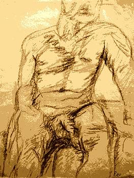 Nude Male Seated Front by Sheri Parris