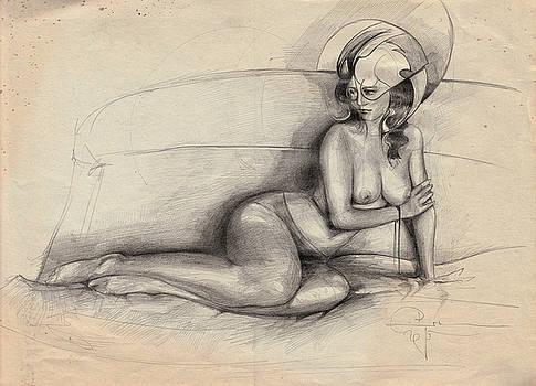 Nude On Sofa by Ertan Aktas