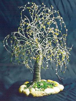 Oak with Stones  - Wire tree Sculpture by Sal Villano