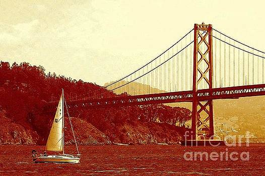 Oakland Bridge And Grace Sailing In San Francisco Bay by Michael Hoard