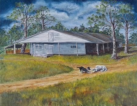 Ocala Stable with dogs by Joan Mace