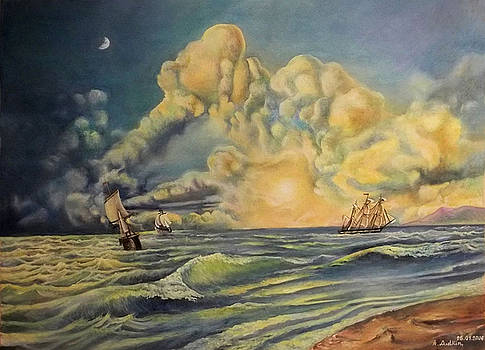 Ocean with strange clouds by Alexander Dudchin
