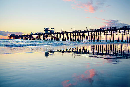 Oceanside Beach Sunset Reflections by Ray Devlin