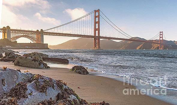 October sunset on the Golden Gate Bridge by Mark Chandler