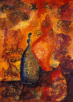 ODD MAN OUT Abstract still life painting of bottles by Phil Albone
