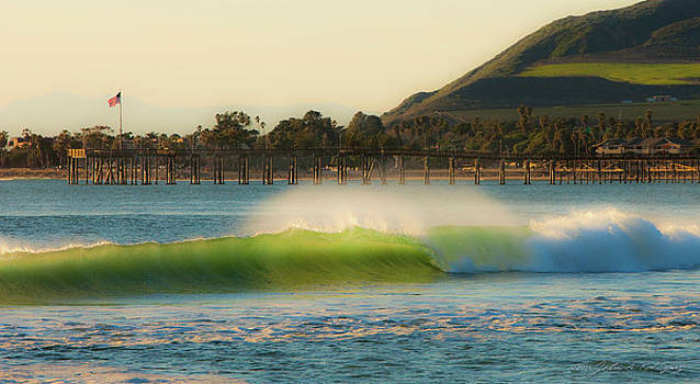 Offshore Wind Wave and Ventura, CA Pier by John A Rodriguez