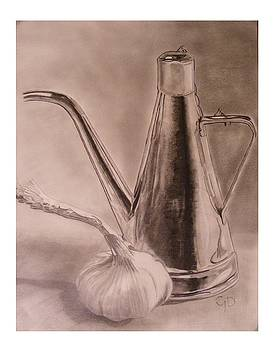 Oil Container and Garlic by Crispin  Delgado
