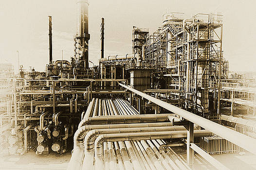 Oil Refinery In Old Vintage Processing Concept by Christian Lagereek