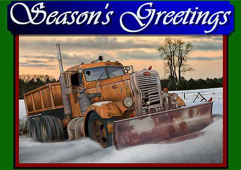 Ol' Pete Snowplow Christmas Card by Stuart Swartz
