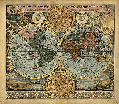 Old Antique World Map by Theodora Brown