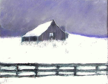 Old Barn in Snow by Kent Whitaker