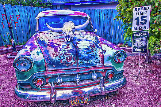 Old Car With Steer Skull by Garry Gay