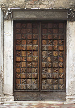 Old Carved Wood Guild Door Venice Italy by Suzanne Powers