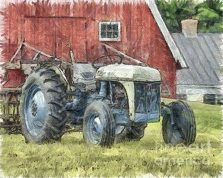 Old Ford Tractor Colored Pencil by Edward Fielding