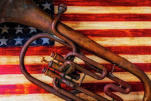 Old Horn On American Flag by Garry Gay