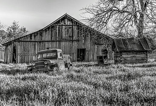 Old Jeep, Old Barn BW by Mike Ronnebeck