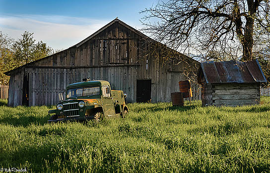 Old Jeep, Old Barn by Mike Ronnebeck