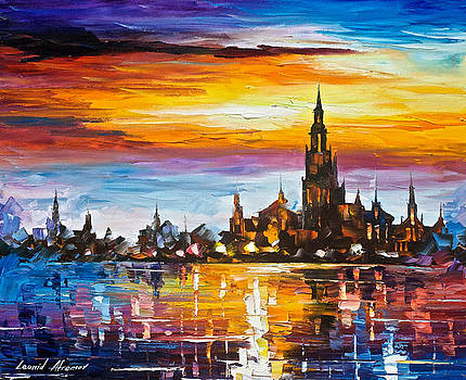 Old Port Tower - PALETTE KNIF Oil Painting On Canvas By Leonid Afremov by Leonid Afremov