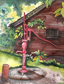 Old Red Pump  by Marsha Woods