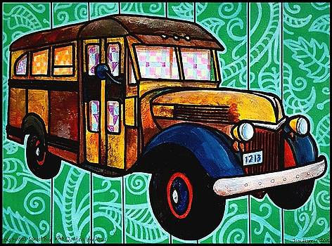 Old Rusted School Bus with Quilted Windows by Jim Harris