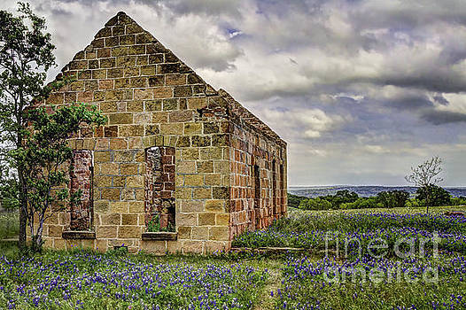 Old Stone Ruins with Bluebonnets by Gary Holmes