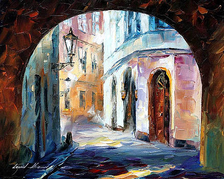 Old Town 2 - PALETTE KNIFE Oil Painting On Canvas By Leonid Afremov by Leonid Afremov