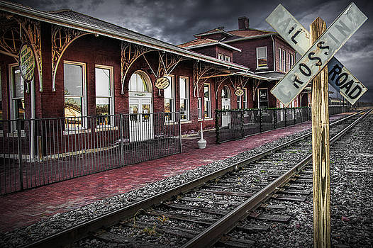 Randall Nyhof - Old Train Station with Crossing Sign
