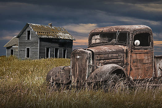 Randall Nyhof - Old Vintage Pickup by an Abandoned Farm House on the Prairie