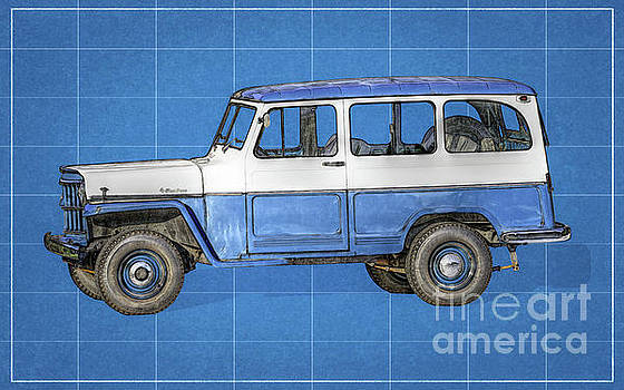 Old Willys Jeep Wagon Blueprint by Randy Steele
