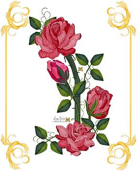 Olde Rose Pink With Leaves and Tendrils by Anne Norskog
