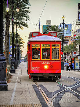 On Track - Canal Streetcar New Orleans by Kathleen K Parker