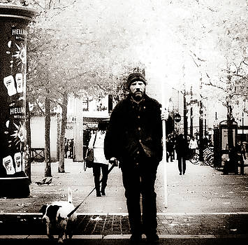 One man and his dog Black and White photograph by Paul Jarrett