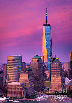 One World Trade Center Sunset by Inge Johnsson