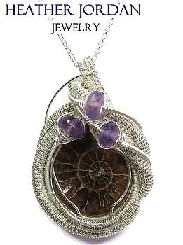 Opalized Ammonite Fossil Wire-Wrapped Pendant in Tarnish-Resistant Sterling Silver with Amethyst - 9 by Heather Jordan